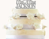 Glitter Wedding Cake Topper - Personalized Cake Topper - Mr and Mrs -  Custom Last Name Wedding Cake Topper - Peachwik Cake Topper - PT0016