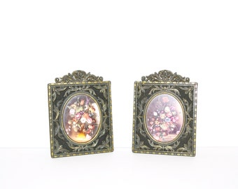 Vintage Brass Picture Frames Set of 2 Picture Frames with an Antique Finish Metal Frame Italian Wall Hangings Floral Print Pictures