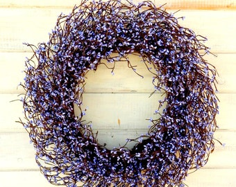 Spring Wreath-LARGE LAVENDER WREATH-Spring Door Wreaths-Purple Berry Wreath-Summer Door Decor-Scented Wreaths-Summer Wedding Wreath-Gifts