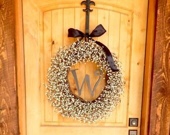 MONOGRAM Door Wreath-White Wreath-Wedding Gift-Housewarming-Personalized Door Wreath-Year Round Wreath-Outdoor Wreath-Scented Wreaths-Custom