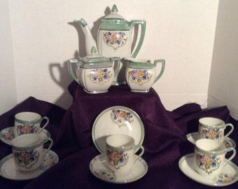 1950's Tea Set Antique Demitasse Tea Set/Chocolate Set Occupied Japan Lusterware Cup Saucer Teapot