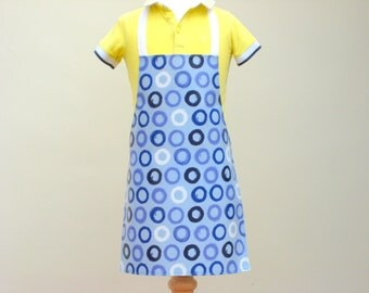Toddler Apron - Blue Circle Print, Child Pvc Apron, Oilcloth Apron, Waterproof Apron