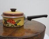 Vintage Brown Enamel Ware Mushroom 70s Style Stove Top Pan or Pot with Lid