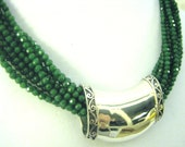 GREEN JADE 10 Strand Necklace with Sterling Slide and Toggle Clasp