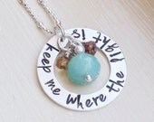 Personalized Lyrics Custom Quote Sterling Silver Washer Necklace Rustic Boho Mint Brown Jewelry