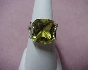 Vintage Lemon Quartz Ring, Solitaire,  Cushion Cut, 14MM, 8 Carat, Sterling Silver, 6.8 Gram, Size 7
