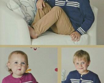 Boys Knitting Pattern T9195 Babies/Childrens Button neck Striped Jumper Knitting Pattern DK (Light Worsted) Twilleys