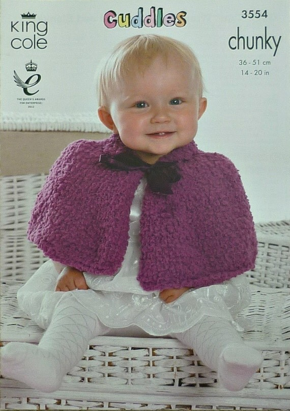 Baby Knitting Pattern K3554 Babies Short Cape Knitting Pattern Cuddles Chunky...