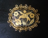 Vintage 40s Damascene Brooch Bird and Flowers Black and Golds