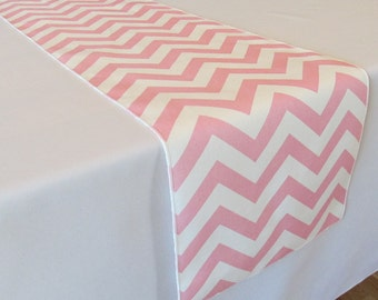 Light Pink and White Chevron table runner - SELECT A SIZE