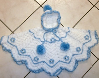 Crochet Baby Girls Hooded Poncho Flower Sweater