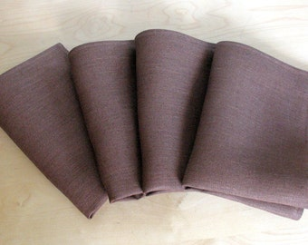 "Linen Napkin Serviette Brown set of 16 - Flax - 17.3"" x 11.8""  size"