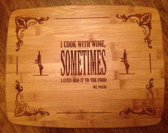 Cooking with Wine Bamboo Cutting Board