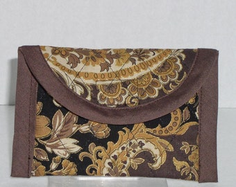 Business Card Case - Gold and Cream Paisley on Brown