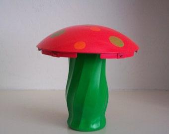 Fluorescent Pink and Green Moon 'Shroom - UV / Black Light Reactive - Hubcap Mushroom Garden Art