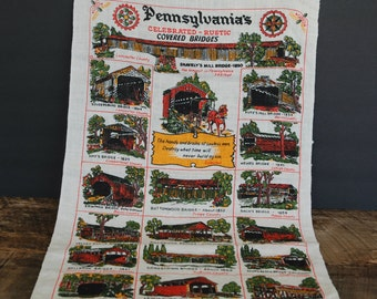 Vintage Fabric Wall Hanging Pennsylvania's Celebrated Rustic Covered Bridges