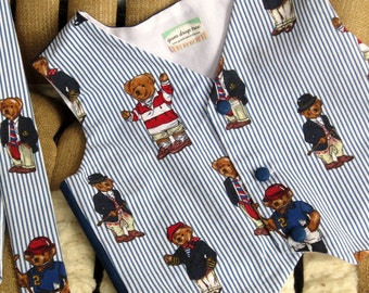Custom Order Boys Vest--Popular Ralph Lauren fabric---Custom Sizes 2-10 available