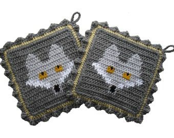 Grey Fox Pot Holders.  Gray crochet potholders with silver foxes. Thick fox potholders. Woodland decor