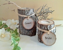 RUSTIC WEDDING - Tree branch candles - Personalized wedding candles -  Engraved Tree slices - Wood candles - Bride groom candles