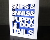 Little Boys Greeting Card, Snips Snails Puppy Dog Tails Cute Baby Boy Card