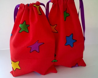 2 Upcycled Fabric Gift Bags, Brightly Colored Stars on Red, Reusable