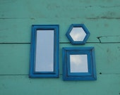 "Set of Mirrors in Bold Blue distressed and Antiqued French Country Cottage Chic ""Light Iris"" Modern Vintage"