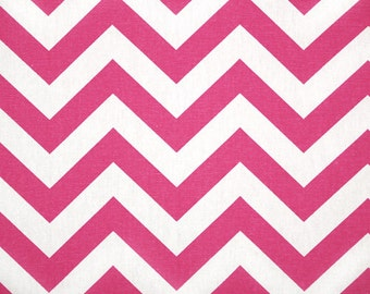 "Pair of Candy Pink and White Chevron Zig Zag Drapery Panels Choose Your Length 50"" x 63, 84, 96, 108, 120"