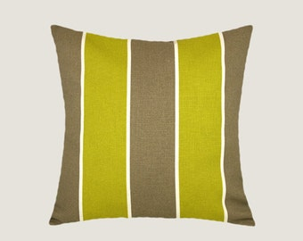"""Decorative Pillow case, Home Decor, Striped fabric Light Brown, Yellow Throw pillow case, fits 18"""" x 18"""" insert, Cushion case"""