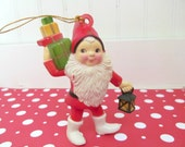 Vintage Kurt Adler Gnome Elf Christmas Ornament, Plastic Retro Scandinavian Gnome or Elf - annegraham