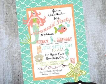 PRINTABLE Mermaid Birthday Party Invite- Printable party invitation by Luv Bug Design