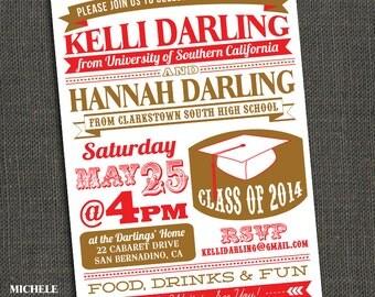TWO GRADUATES - High School or College Graduation Party Invitation - Printable