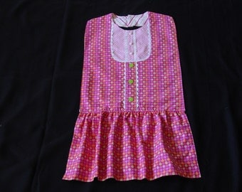Funky Flowers & Dots - Jumper Dress Style Bib -  Special Occasions and Everyday Use
