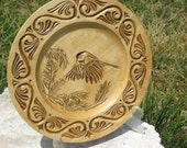 Wooden Collector Plate Hand Carved Celtic border Chickadee chip carving PRICE REDUCED