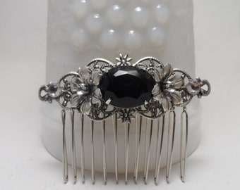 BLACK Rhinestone Sterling Silver OX hair comb black COMB Flower vintage inspired octagon Wedding accessories Bridal accessories Bridesmaid