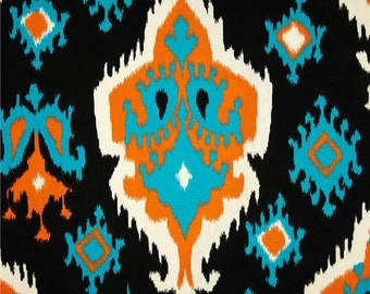 "Two 96"" x 50""  Custom Curtain Panels   - Ikat - Black/Turquoise/Orange"