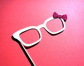 Photo Booth Props - Glasses with GLITTER bow - Birthdays, Weddings, Parties - Photobooth Props