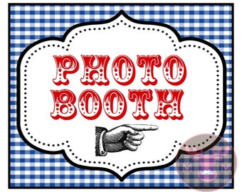INSTANT DOWNLOAD - Photo Booth Sign - Wizard of Oz - Red & Blue Gingham - Weddings, Birthdays, Parties