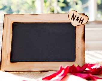 Personalized Rustic Wedding chalkboard Heart with initials can be used as table numbers