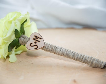 Shabby Chic Personalized Green Ranunculus Guest Pen with wood heart with bride and groom initials over 60 flowers to select from