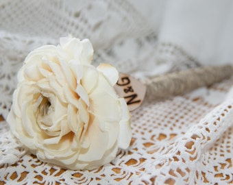 Shabby Chic Personalized Ivory Ranunculus Guest Pen with wood heart with bride and groom initials over 60 flowers to select from