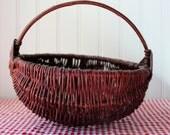 Natural Willow Basket Vintage Gods Eye Handle