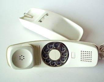 Vintage Western Electric Bell Trimline Rotary Dial Phone, Off White