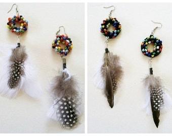Tamaya Crochet and Beaded Earrings with Feather