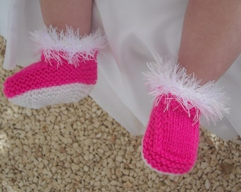 Handknitted fur topped cerise and white boots 0-3mth, 3-6mth