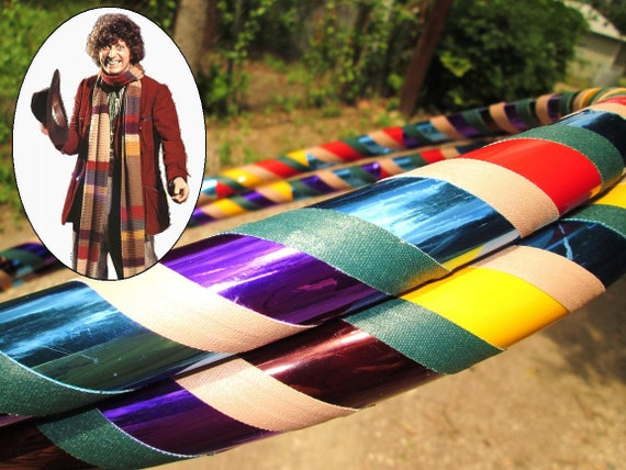 Tom Baker Scarf-themed Beginner Hula Hoop - Collapsible Travel Weighted Dance Hoop - Doctor Who - Tan, Green, Yellow, Blue, Red, Purple