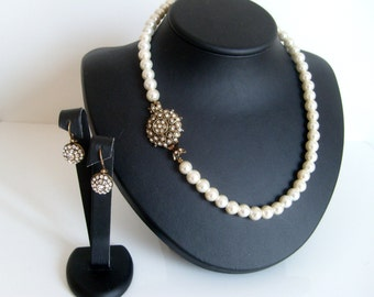 Vintage inspired antique brass full strand classic bridal jewelry set wedding jewelry bridal jewelry