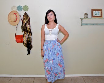 Vintage High Waisted Long Floral Skirt - Floral Cottage Cute