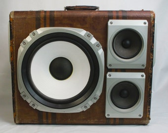 Big Brown Vintage Suitcase Stereo Music Machine with Bluetooth