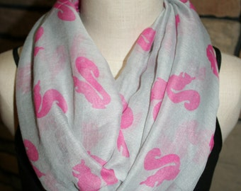 Squirrel Print Infinity Scarf Gray and Pink Squirrel Circle Scarf-Squirrel Scarf-Womens Accessories- Loop Scarf Grey Scarf Outdoors Scarf