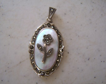 Vintage MARCASITE - STERLING and Mother Of Pearl Flower Pendant .925, sterling silver,